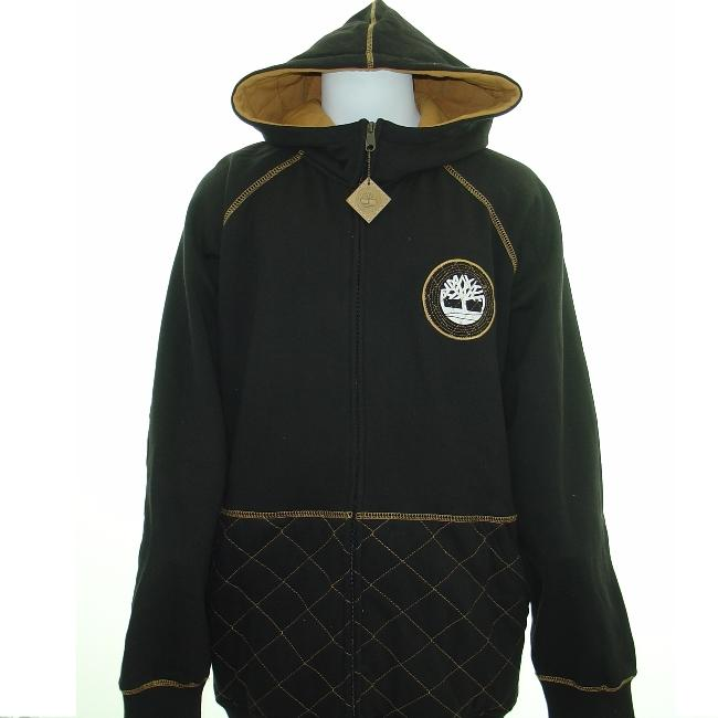 Timberland Quilted Black Hooded Sweatshirt