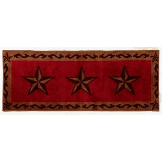 HiEnd Accents Star Print Red 24 x 60-inch Acrylic Rug