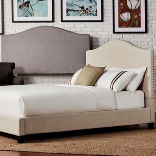 INSPIRE Q Blanchard Nailheads Camelback Beige Linen Upholstered King-size Bed