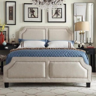 Harlow Arched Panel Nailhead Beige Linen Upholstered King-size Platform Bed with Footboard