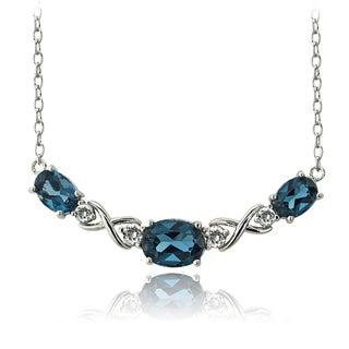 Glitzy Rocks Sterling Silver London Blue and White Topaz Necklace