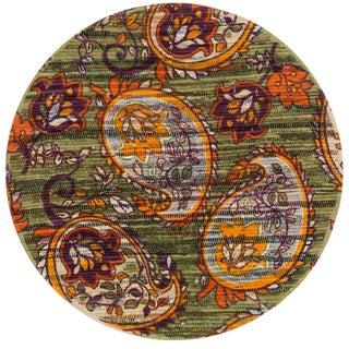 Flatweave Maria Green Orange Paisley Flower Round Rug (3'0 x 3'0)