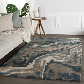 Hand-Tufted Abstract Pattern Blue\Brown (8x10) Area Rug