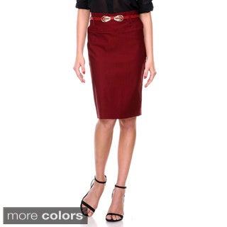 Women's High Waist Bow Belt Pencil Skirt