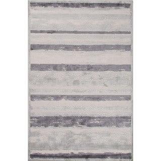 Machine Made Stripe Pattern Ivory\Gray (7.6x9.6) Area Rug