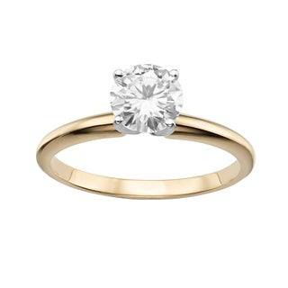 Charles and Colvard 14K Yellow Gold 1ct. TGW Moissanite Round Solitaire Ring
