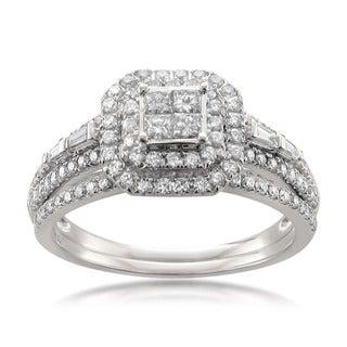 14k White Gold 1ct TDW Diamond Double Halo Engagement Ring and Wedding Band Set (H-I, SI1)