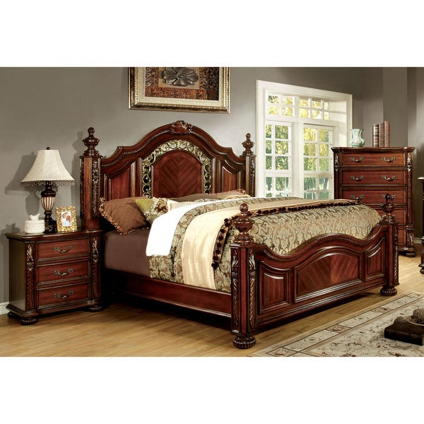 of america ellianne traditional 3 piece brown cherry bedroom set