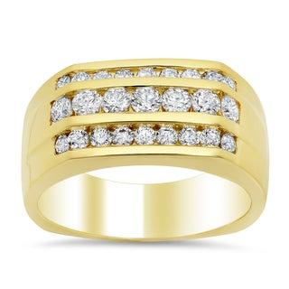 14k Yelllow Gold Men's 1 3/5 ct TDW Diamond 3-row Diamond Ring (F-G, SI1-SI2)