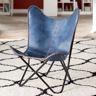 Navy Blue Leather Butterfly Chair with Black Frame