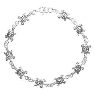 Sea Journey Turtle Link .925 Sterling Silver Bracelet (Thailand)