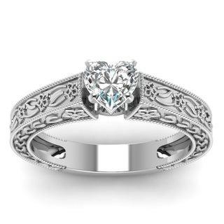 Fascinating Diamonds 14k White Gold 1/2ct TDW Heart Diamond Ring (H-I, VVS1-VVS2)
