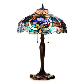 Chloe Lighting Tiffany Style Victorian/Dragonfly Design 2-light Dark Bronze Table Lamp