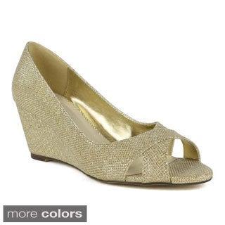 Celeste Women's Wanda-02 Glitter Mesh Dressy Wedges