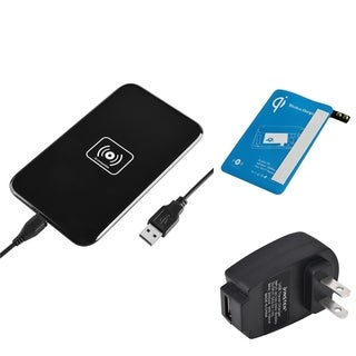 Insten Qi Black Wireless Power Charger Charging Pad With Receiver for Samsung Galaxy S5 SM-G900