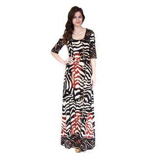 24/7 Comfort Apparel Women's Abstract Animal Printed Maxi Dress