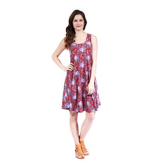 24/7 Comfort Apparel Women's Red Paisley Printed Tank Dress
