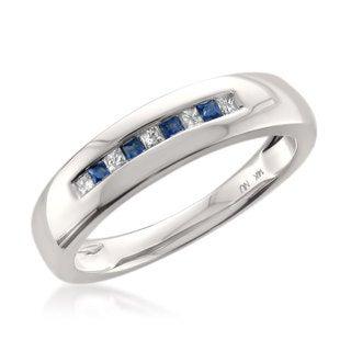 14k White Gold Men's 1/6ct TDW Princess-cut White Diamond and Blue Sapphire Wedding Band (H-I, I1)