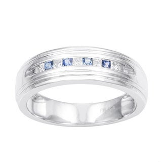 14k White Gold Men's 1/6ct TDW Princess-cut Diamond and Blue Sapphire Wedding Band (H-I, I1)