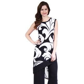 24/7 Comfort Apparel Women's Abstract Wave Slant Hem Tunic
