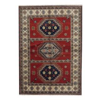 Herat Oriental Indo Hand-knotted Tribal Kazak Red/ Navy Wool Rug (5'9 x 7'9)