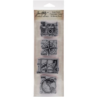 "Tim Holtz Mini Blueprints Strip Cling Rubber Stamps 3""X10""-Travel"