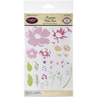 "JustRite Papercraft Clear Stamp Set 4""X6""-Romantic Wild Roses"