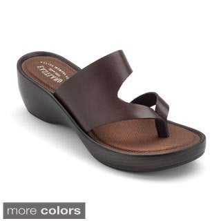 Eastland Womens 'Laurel' Leather Low-wedge Thong Sandals
