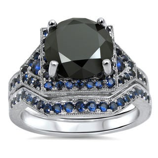Noori 14k White Gold 2 1/2ct Certified Black Round Diamond Blue Sapphire Bridal Ring Set