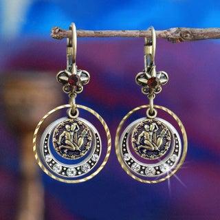 Sweet Romance Retro Astrology Zodiac and Crystal Star Earrings
