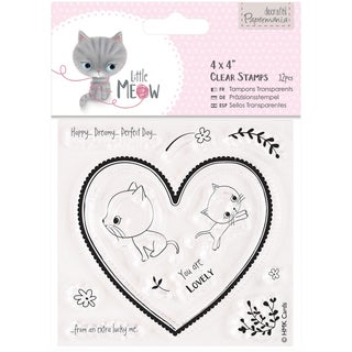 """Papermania Little Meow Clear Stamps 4""""X4""""-You Are Lovely"""