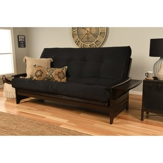 Somette Phoenix Queen Size Futon Sofa Bed with Espresso Hardwood Frame and Suede Innerspring Mattress