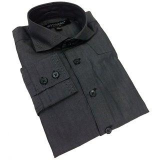 Bogosse Boy's Solid Button Down Charcoal Grey Shirt