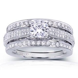 Annello 14k White Gold 1ct TDW Round-cut Diamond 3-Piece Bridal Set (H-I, I1-I2)
