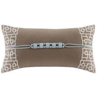 N Natori Fretwork Aqua Oblong Throw Pillow