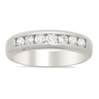 14k White Gold Men's 3/4 ct TDW Diamond Wedding Ring (F-G,VS1-VS2)