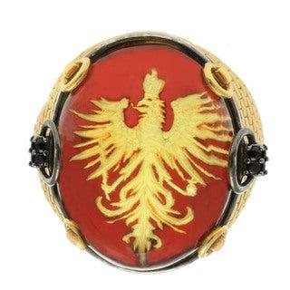 Michael Valitutti Palladium Silver Carved Amber Men's Ring