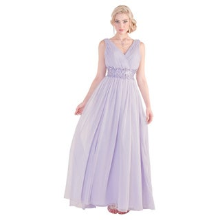 Daniella Collection Women's Lavender Beaded Rhinestone Dress