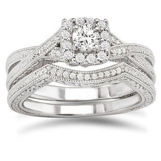 Avanti 14k White Gold 3/8ct TDW Diamond Bridal Ring Set (G-H, SI1-SI2)