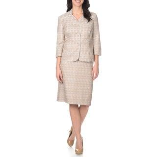 Danillo Women's Collarless Jacquard 2-piece Jacket and Skirt Set