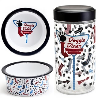 Tara Reed Designs Doggie Diner 3-piece Bowl and Glass Jar Set