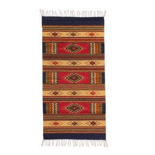 Handcrafted Zapotec Wool 'Valley of The Stars' Rug (2.5x5) (Mexico)
