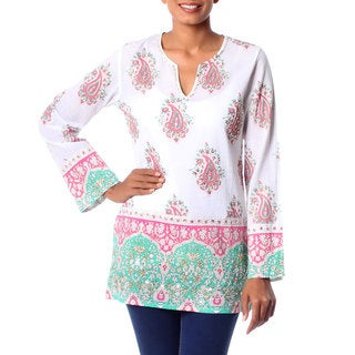 Handcrafted Beaded Cotton 'Beautiful Jaipur' Tunic (India)