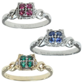 MV 14k Yellow/White Gold Ring Choice of Emerald, Blue Sapphire or Pink Sapphire with