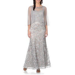 Ignite Evenings by Carol Lin Women's Soutache Gown w/Cape