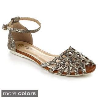 MACHI TASHA-2 Women's Flat Ankle Strappy Sandals