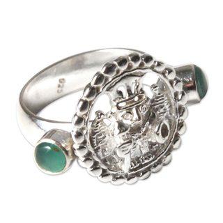 Handcrafted Sterling Silver 'Inca Star Walker' Opal Ring (Peru)