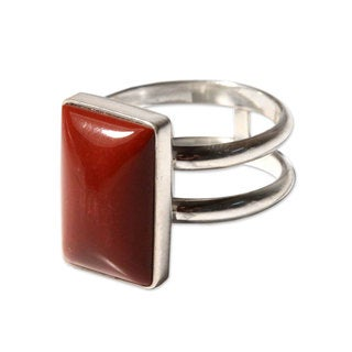 Handcrafted Sterling Silver 'Passion' Jasper Ring (Peru)