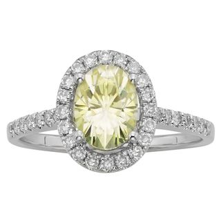 Charles and Colvard Sterling Silver 1 1/2ct TGW Yellow and White Oval Moissanite Halo Engagement Ring