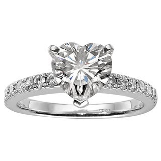 Charles and Colvard Sterling Silver 1 1/2ct TGW Moissanite Heart Fashion Solitaire Engagement Ring